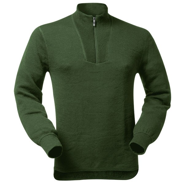 Chemise F1 - T-shirt manches longues Zip Turtleneck Woolpower 400 vert