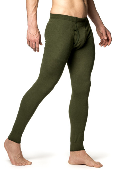 Pantalon caleçon Woolpower Long john with fly en mailles Ullfrotté vert